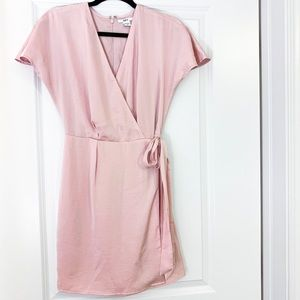 Pink V Neck Faux Wrap Mini Dress